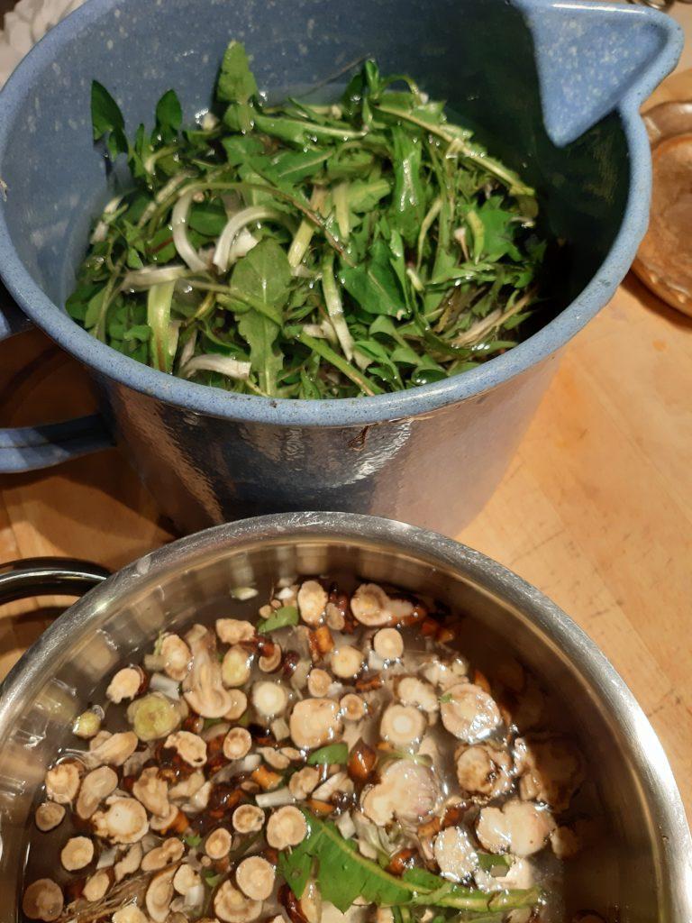 gut putzen und trennen in Salat und Tee